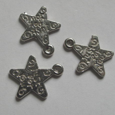 F8489 - Star Charm Silver Colour, Approx 11mm. Pack of 10.