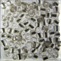 Size 6 silver lined seed beads, silver, 10g pack.