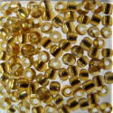Size 8 silver lined seed beads, gold