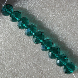 Crystal rondelles 10x14mm emerald green