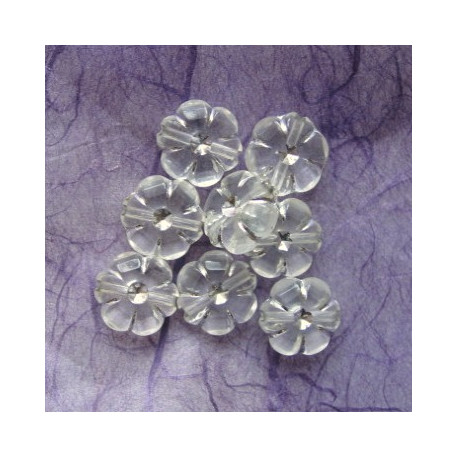 PB2000-Clear 10mm flower with silvery decoreation.  Pack of 20.