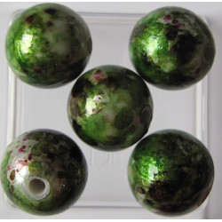 Speckled green 12mm acrylic bead