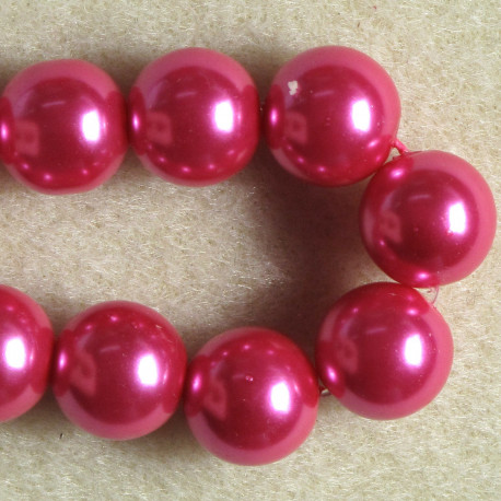 PL1210 - 12mm Bright Pink Glass Pearls