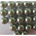 10mm soft moss green glass pearls