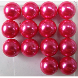PL1410 - 14mm bright pink glass pearls