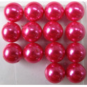 14mm bright pink glass pearls
