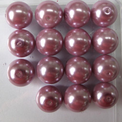 14mm dusky lilac pink glass pearls