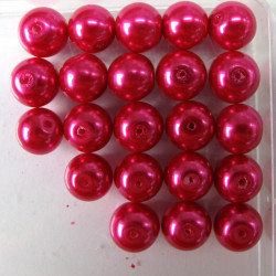 10mm deep pink glass pearls