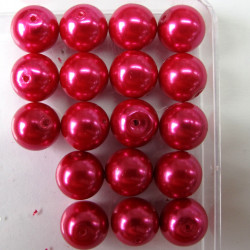 PL1217 -12mm deep pink glass pearls