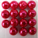 14mm deep pink glass pearls