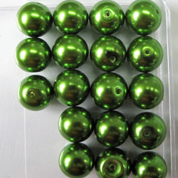 PL1213 -12mm bright green glass pearls
