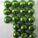 12mm bright green glass pearls