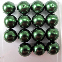 PL1441 -14mm dark green glass pearls