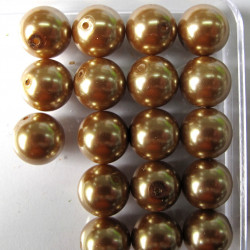 12mm gold/brown glass pearls