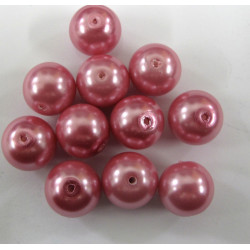 PL1254 - 12mm glass pearl, rose pink. per string.