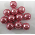 12mm glass pearl, rose pink. Per string.