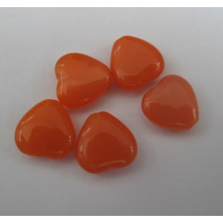 Coral orange glass heart. Pack of 10