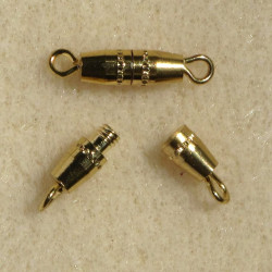Torpedo screw clasp, gold colour. Pack of 10