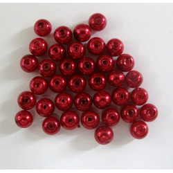 Red glass pearls 6mm. Pack of approx. 38