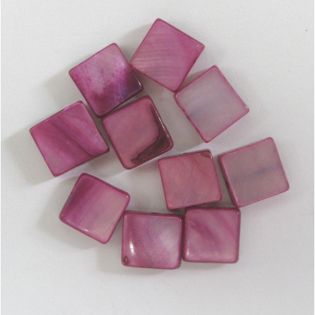 SHL1001 - Pinky Purple Square Shell Beads. Pack of 10