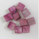 Pinky purple square shell beads. Pack of 10