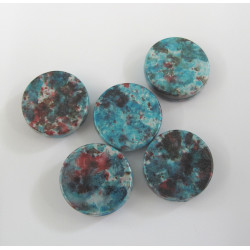 Coin beads. Turquoise/red. Pack of 10