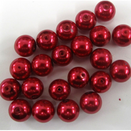 PL1051 - 10mm red glass pearl. per string of approx. 22