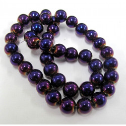 GB1779 - 8mm metallicy purple beads. Per sting.