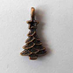 Christmas tree charm, antique copper colour. Pack of 10