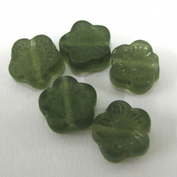 Green glass flower. Pack of 10