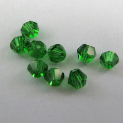 4mm bi-cone crystal,mid green. Pack of 50