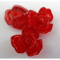 Pretty red rose beads. Pack of 10
