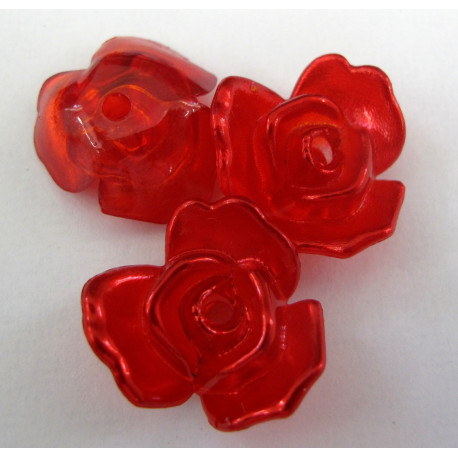 PB3110 - Pretty Red Rose Beads. Pack of 10