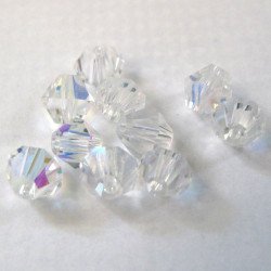 6mm crystal bi-cone. Clear AB. Pack of 25
