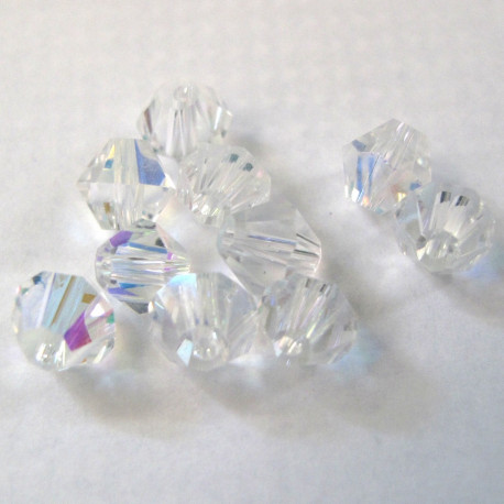 CR6629 - 6mm Crystal bicone. Clear AB. Pack of 25