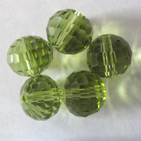 CR1225 - 12mm green glass crystal. Pack of 10