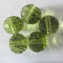 12mm green glass crystal. Pack of 10