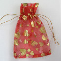 Red and gold organza bag. Pack of 5