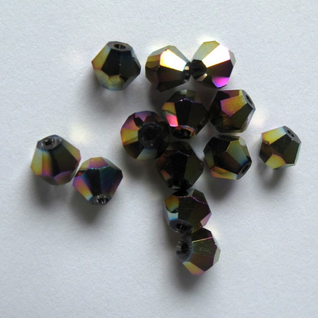 CR4433 - 4mm bicone, dark  rainbow AB. Pack of 50