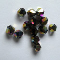 4mm bi-cone, dark rainbow AB. Pack of 50