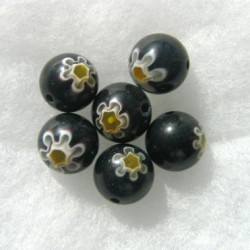 Millefiore glass bead, black. Pack of 10