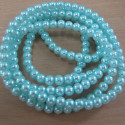 Long strand of 4mm light turquoisey blue glass pearls.
