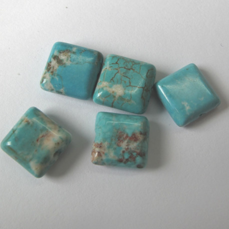 S2304 - Magnesite puffed square bead. Pack of 5.