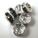 8mm diamonte rondelles, black. Pack of 6