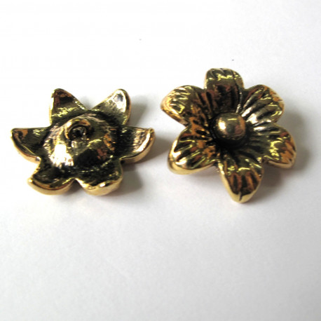 F5034 - Flower approx 22mm, antique gold colour. Pack of 2.