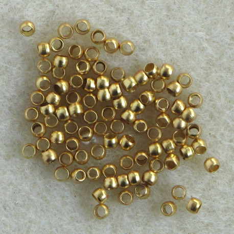 F4080G - Bead crimps, Gold colour, 2mm. Pack of 100
