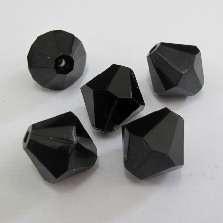 AC4721 - Black bicones. Approx 12mm. Pack of 10