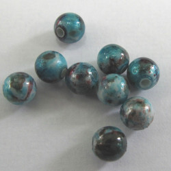 6mm speckled turquoise/red. Pack of 100