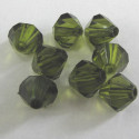 8mm bi-cone. Dark olive green. Pack of 50
