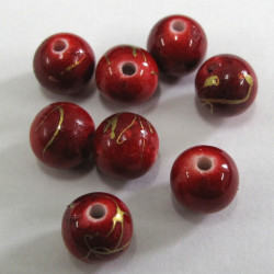 8mm red bead with gold decoration. Pack of 50
